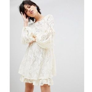 Free People Long Sleeve Ivory Lace Dress Large